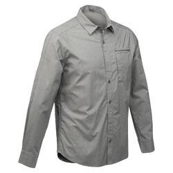 男款可調整健行襯衫TRAVEL 500-卡其色