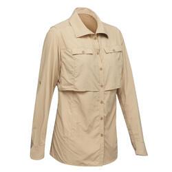 Camisa de Mangas Compridas de Trekking Deserto ANTI-UV - DESERT 500 Mulher Bege
