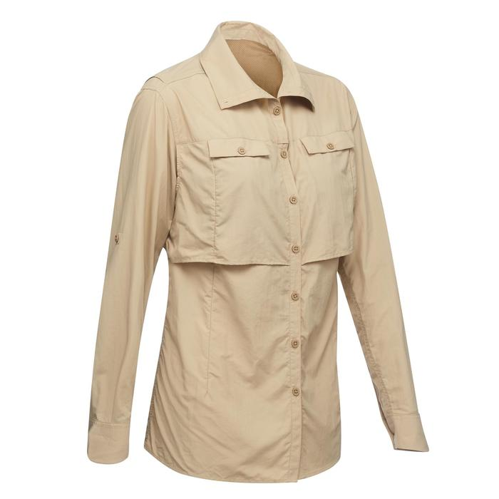 Chemise manches longues de Trekking désert DESERT 500 femme beige - 1291569