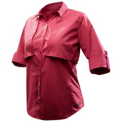 Camisa de manga larga TRAVEL 500 MODULABLE mujer burdeos