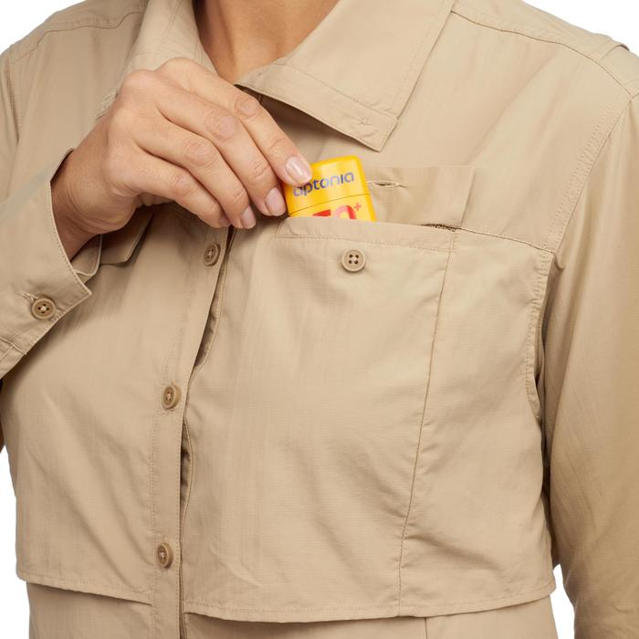 Chemise manches longues de Trekking désert DESERT 500 femme beige - 1291598