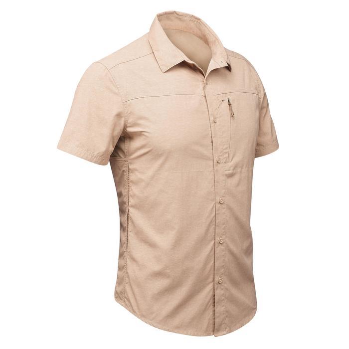Trekkinghemd kurzarm Travel 100 Fresh Herren Print beige