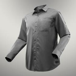 男款長袖捲袖襯衫TRAVEL 500-灰色