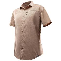 TRAVEL 100 男士短袖襯衫 - 米色印花