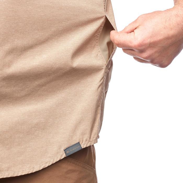 Hemd Travel 100 Fresh met korte mouwen voor heren beige met print