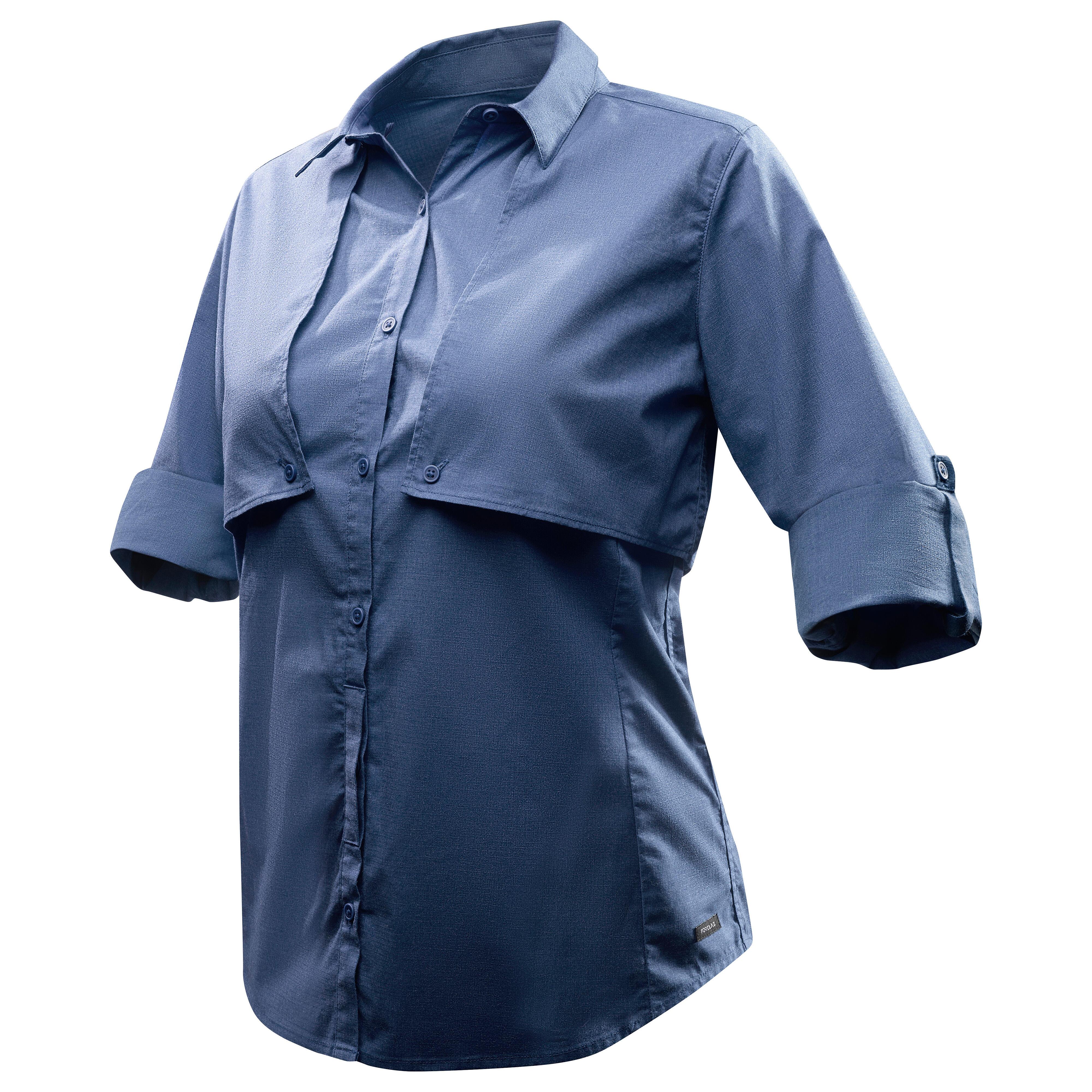 Forclaz Trekkingblouse met lange mouwen voor dames Travel 500 omvormbaar blauw