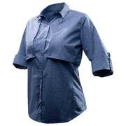 Modra ženska prilagodljiva pohodniška srajca z dolgimi rokavic TRAVEL 500