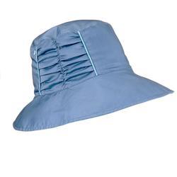 女款登山健行雙面遮陽帽Trek 500-藍色