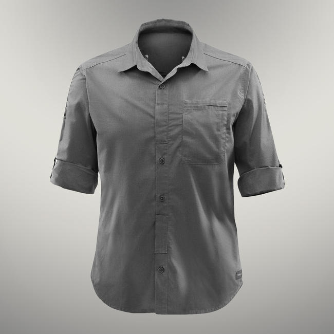 Men's ADJUSTABLE Trekking shirt TRAVEL 500 - khaki