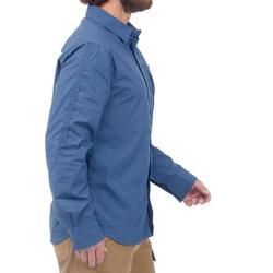 Overhemd met lange mouwen voor trekking heren Travel 500 omvormbaar blauw