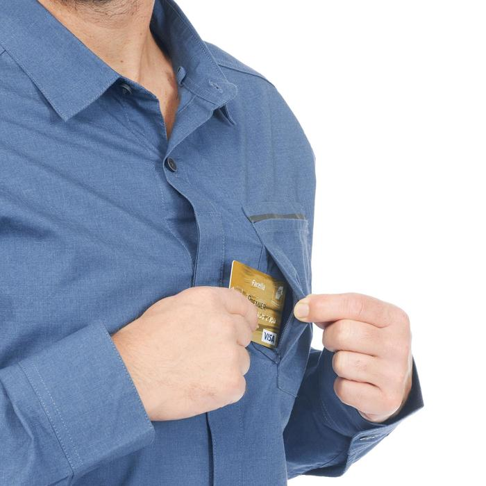 Men's Trekking Roll-sleeve Shirt TRAVEL 500 - Blue