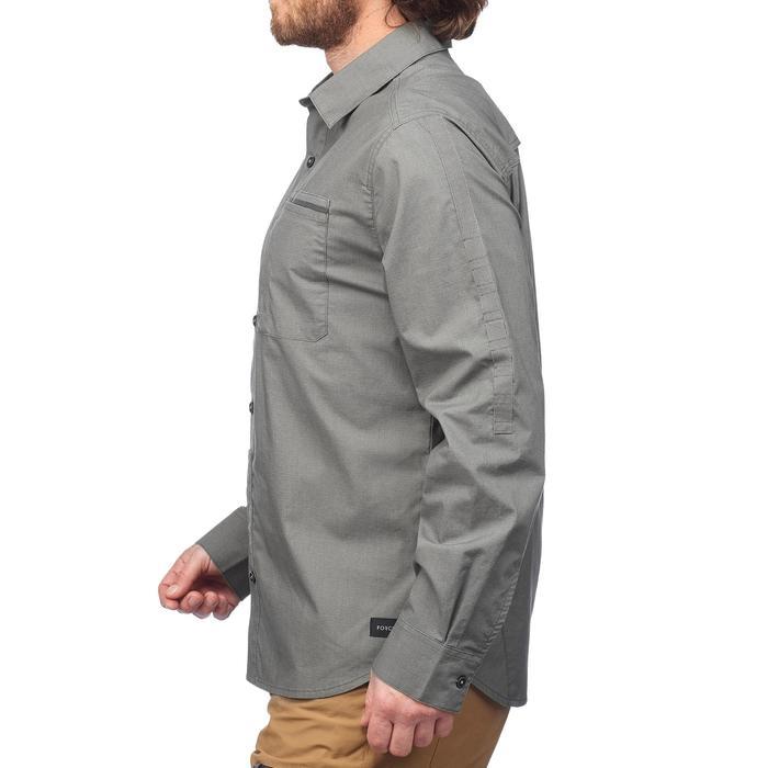 Heren overhemd met lange mouwen Travel 500 omvormbaar kaki