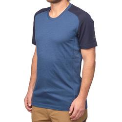 Merino T-shirt met korte mouwen voor bergtrekking heren Trek 500 blauw