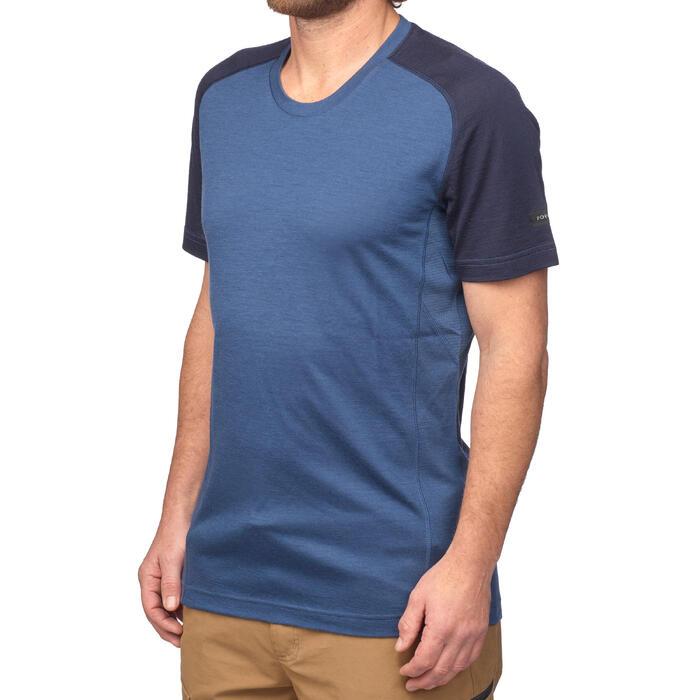 Merino shirt met korte mouwen voor bergtrekking heren Trek 500 blauw