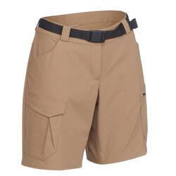 女款登山健行短褲TREK 100-米色