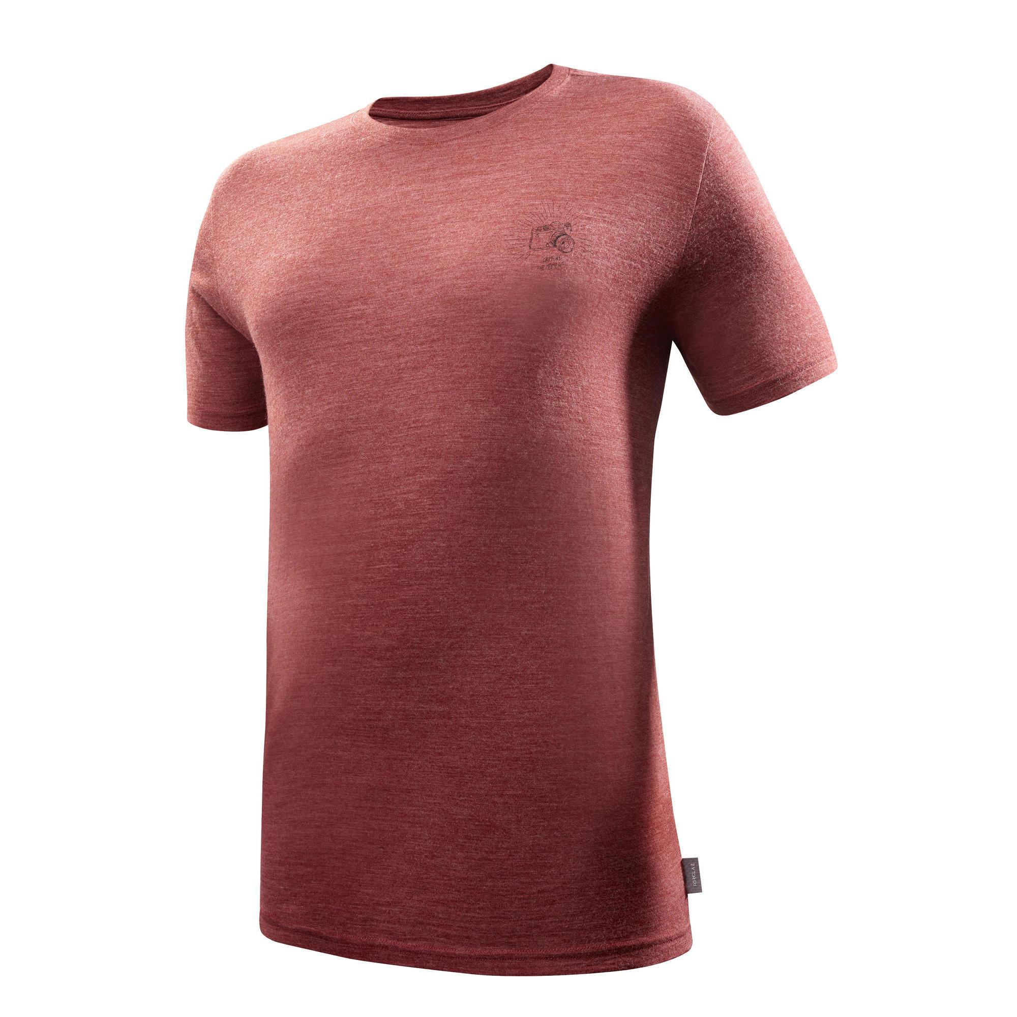 Forclaz Trekking T-shirt met korte mouwen Travel 500 merinowol heren rood