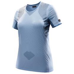 T-shirt met korte mouwen voor bergtrekking Trek 100 dames blauw