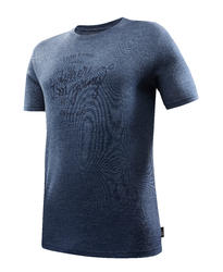 Men's Trekking Short-Sleeved T-Shirt TRAVEL 500 WOOL - Blue