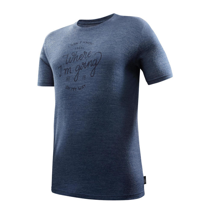 Trekking T-shirt met korte mouwen Travel 500 merinowol heren blauw