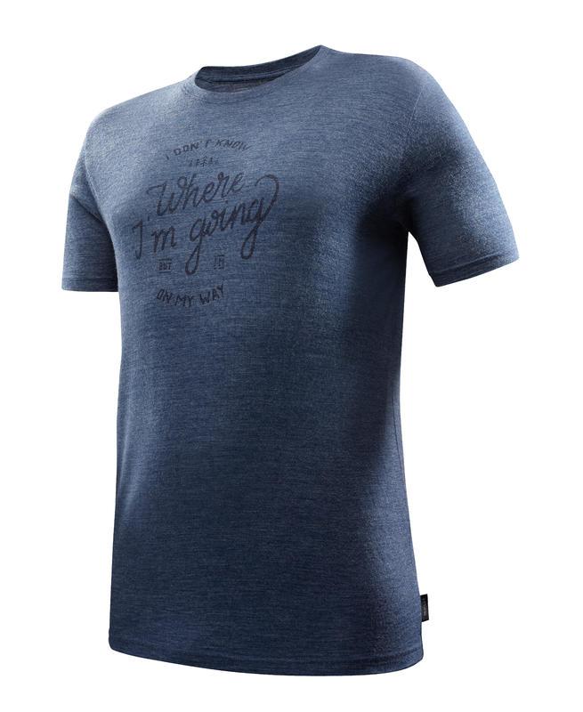 T-shirt manches courtes randonnée VOYAGE500 LAINE homme bleu