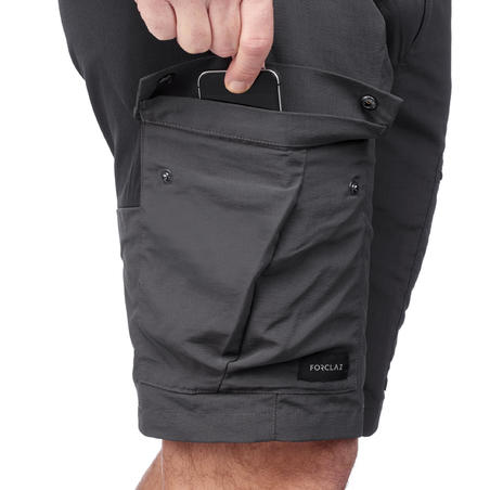 Men's Mountain Trekking Durable Shorts - TREK 500 Dark Grey
