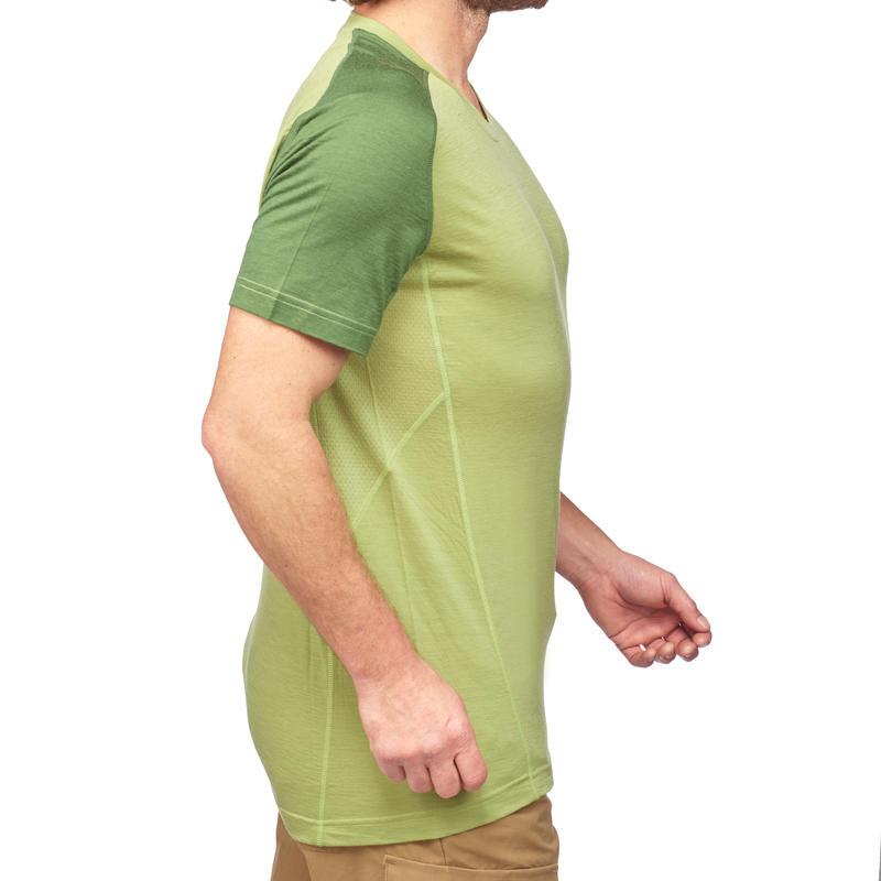 Men's Mountain Trekking Short-Sleeved Merino T-Shirt Trek 500 - Green