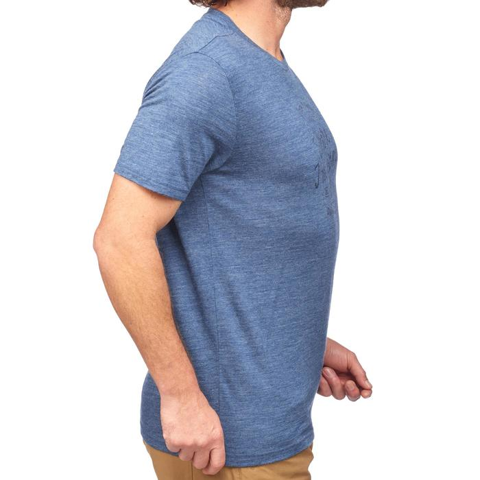 Camiseta manga corta trekking TRAVEL500 WOOL hombre azul