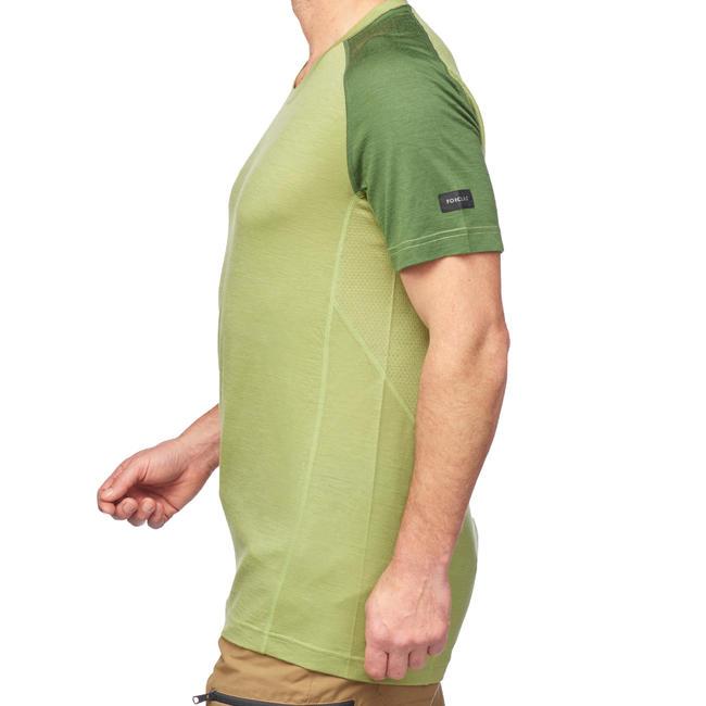 Men's Mountain Trekking Short-sleeved Merino T-Shirt - TREK 500 Green