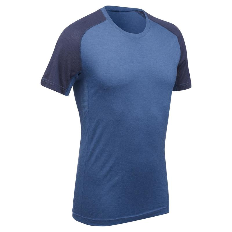 T-shirt manches courtes de trek montagne - TREK 500 MERINOS bleu homme