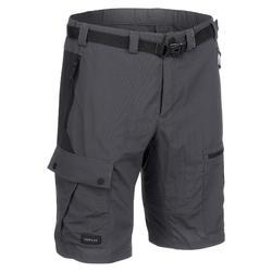 男款登山健行短褲TREK500-深灰色