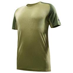 Camiseta de manga corta trekking en montaña TREK 500 wool hombre verde