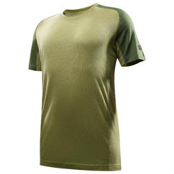 T-shirt manches courtes trekking montagne TREK500 mérinos homme vert
