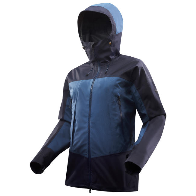 Men's Mountain Trekking Waterproof Jacket - TREK 500 Blue