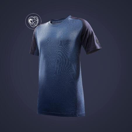 Men's Mountain Trekking Short-Sleeved T-Shirt Trek 500 Merino - blue