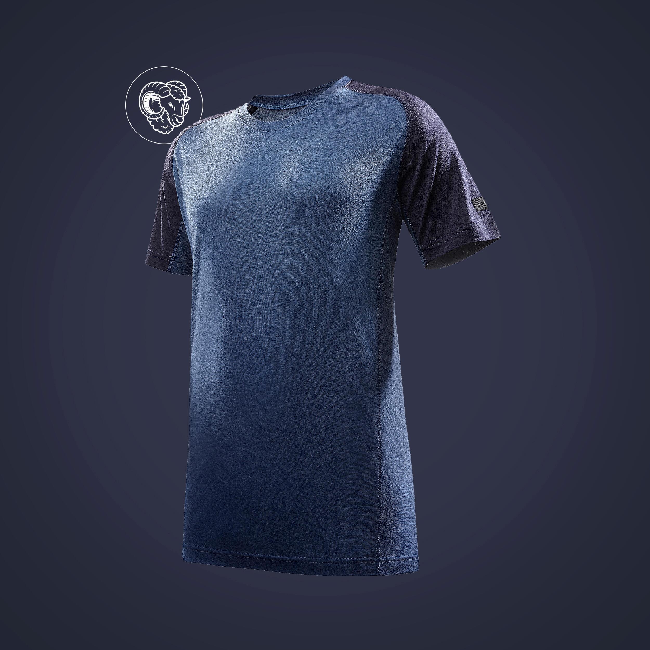 Forclaz T-shirt met korte mouwen voor bergtrekking Trek 500 merinowol heren