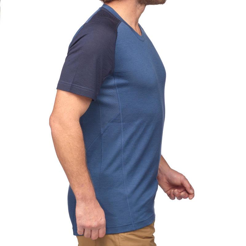 เสื้อยืดผู้ชายผ้าเมอริโนแขนสั้นเพื่อการเทรคกิ้งบนภูเขารุ่น TREK 500 (สีน้ำเงิน)