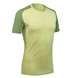 Men's Mountain Trekking Short-sleeved Merino T-Shirt - TREK 500 Green
