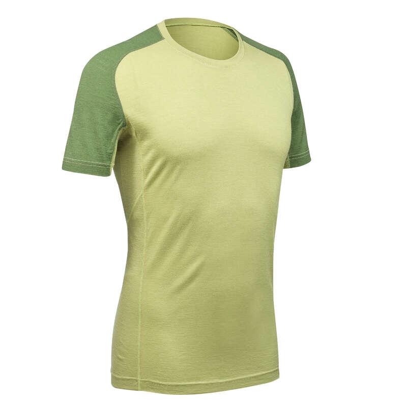 Outfit Herren Trekking Wandern - Merinoshirt Trek 500 grün FORCLAZ - Wanderbekleidung und Zubehör