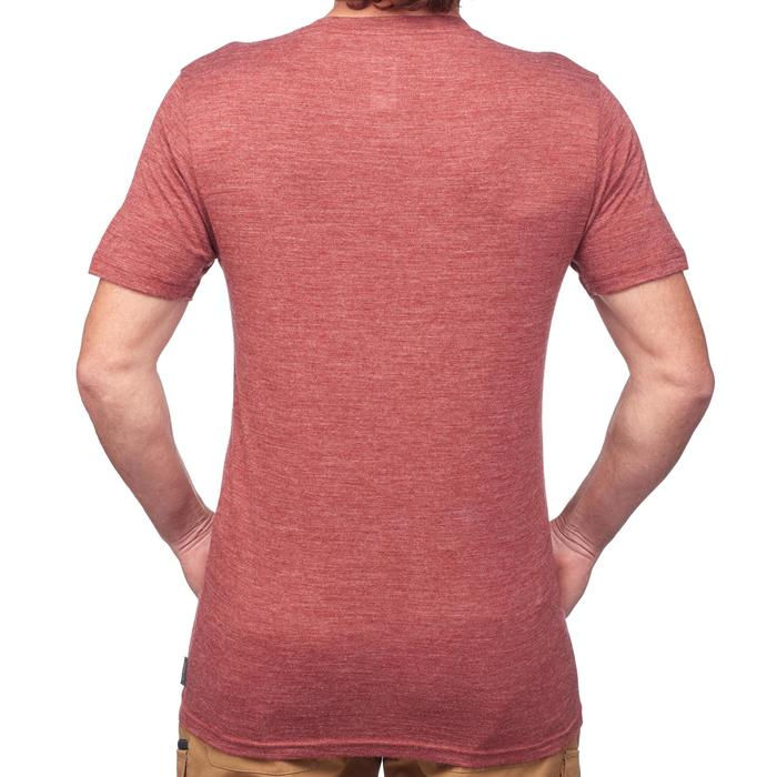 Tee-Shirt manches courtes trekking TRAVEL500 WOOL homme rouge