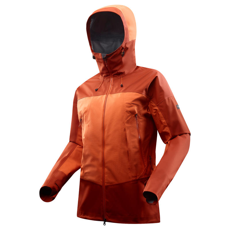 Jaket mendaki gunung tahan air jingga TREK500