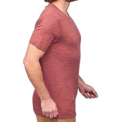 T-shirt voor backpacken heren Travel 500 wool rood
