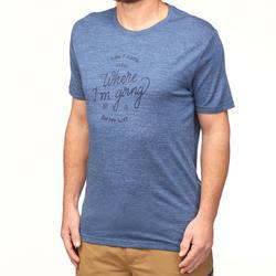 Men's Trekking Short-Sleeved T-Shirt TRAVEL 500 WOOL - Blue