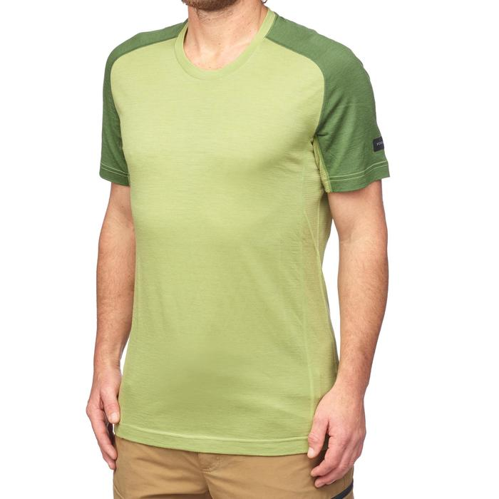 Trekking T-shirt voor heren Trek 500 merinowol groen