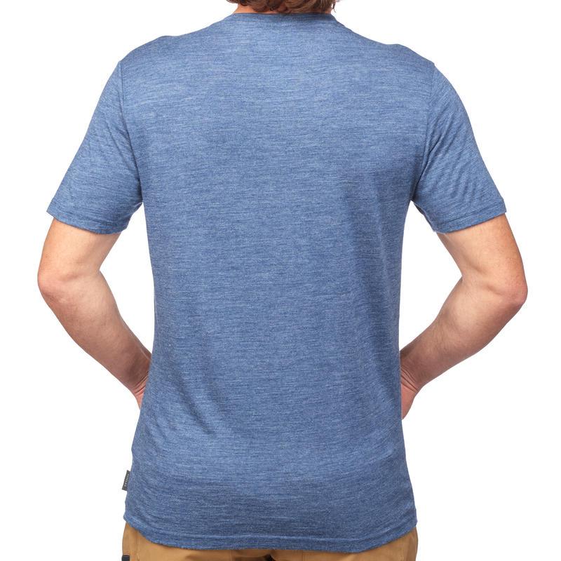 เสื้อยืดผ้าวูลแขนสั้นสำหรับผู้ชายใส่เดินเทรคกิ้งรุ่น Travel 500 (สีน้ำเงิน)