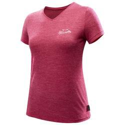 Camiseta manga corta trekking TRAVEL500 lana merina mujer rosa
