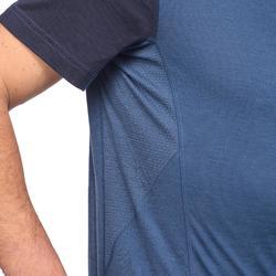 Herenshirt van merinowol met korte mouwen voor bergtrekking Trek 500 blauw