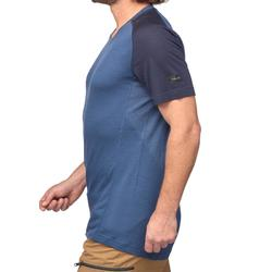 T-shirt mérinos manches courtes de trek montagne - TREK 500 bleu homme