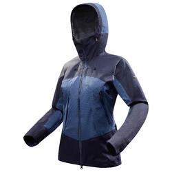Women's blue waterproof mountain trekking jacket TREK500