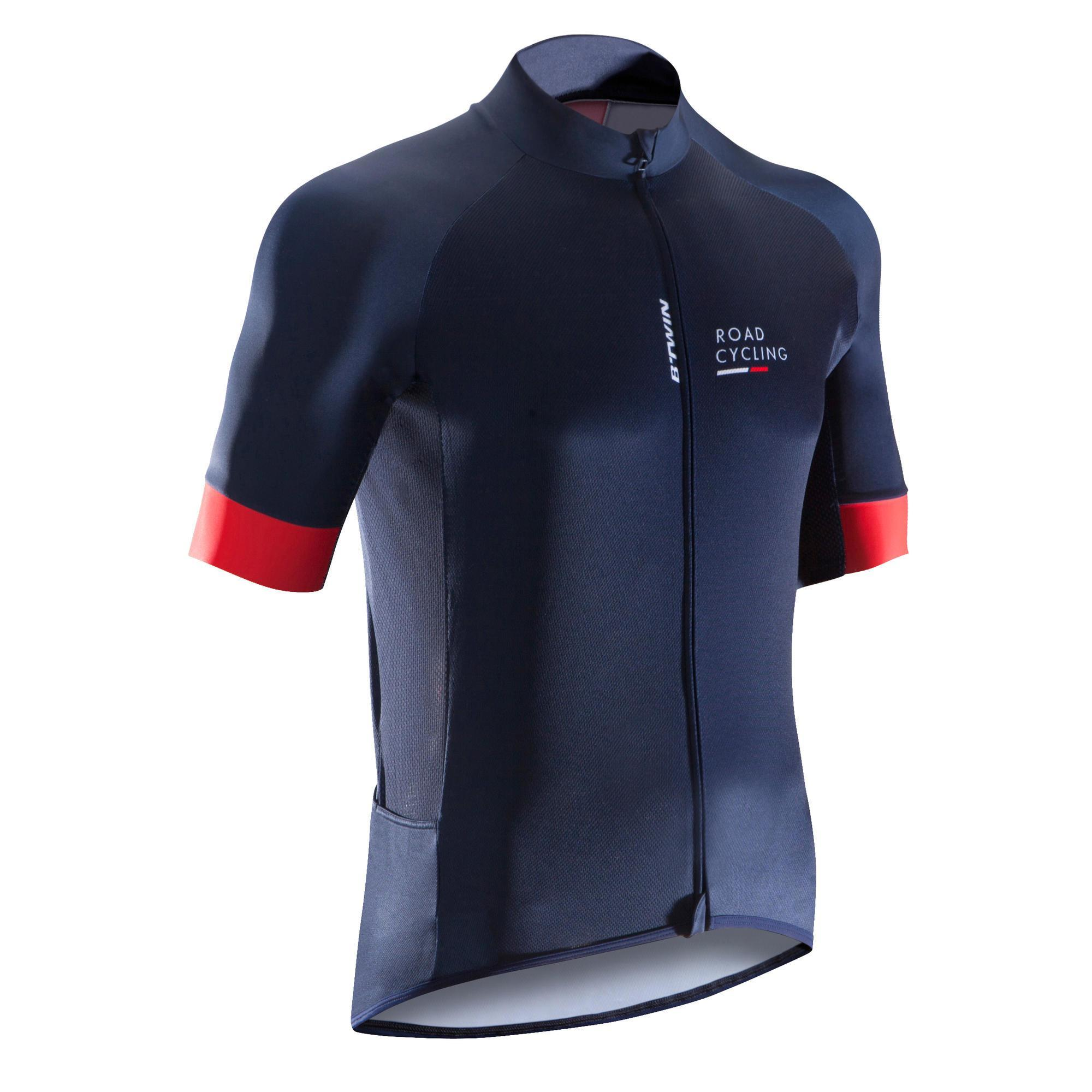 Triban Fietsshirt met korte mouwen voor heren Roadcycling 900 marineblauw