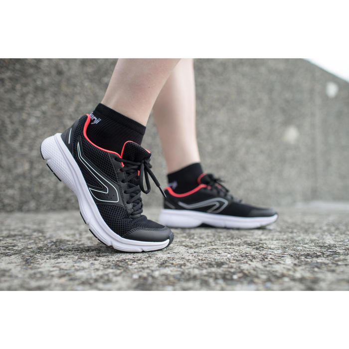 CUSHION WOMEN'S JOGGING SHOES - BLACK/CORAL
